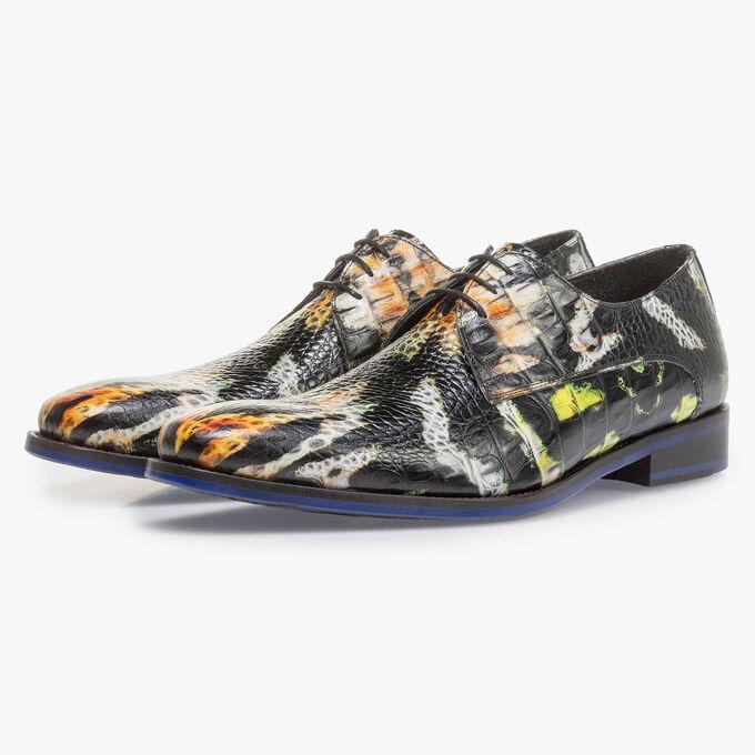 Premium orange and yellow leather lace shoe