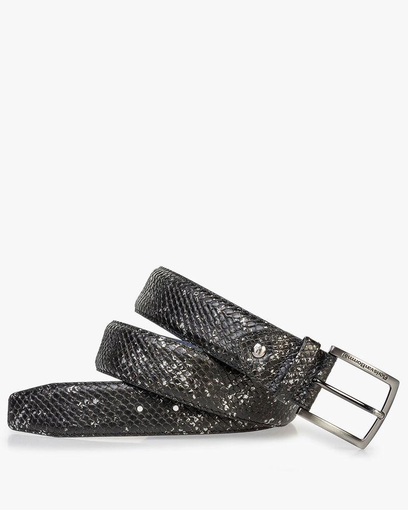 Leather belt with metallic print black