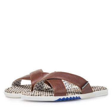 Printed leather slipper