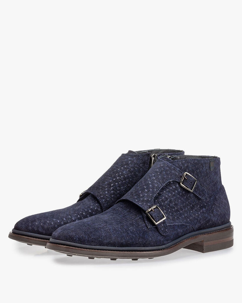 Boot with buckle closure blue