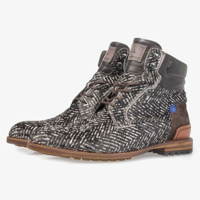 Premium off-white printed pony hair lace boot