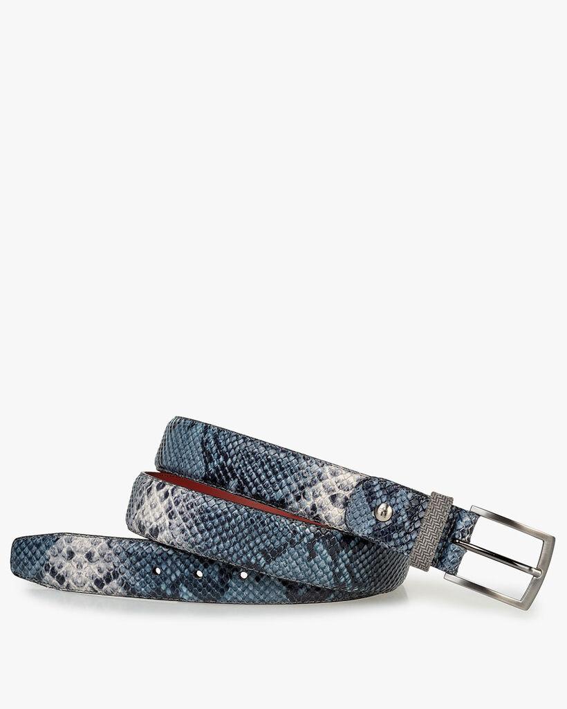 Gürtel Leder mit Print blau