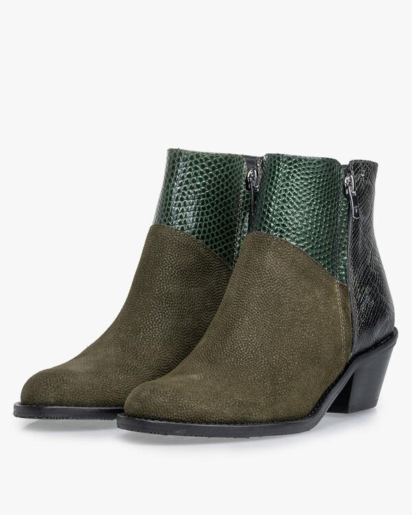 Ankle boot printed suede green