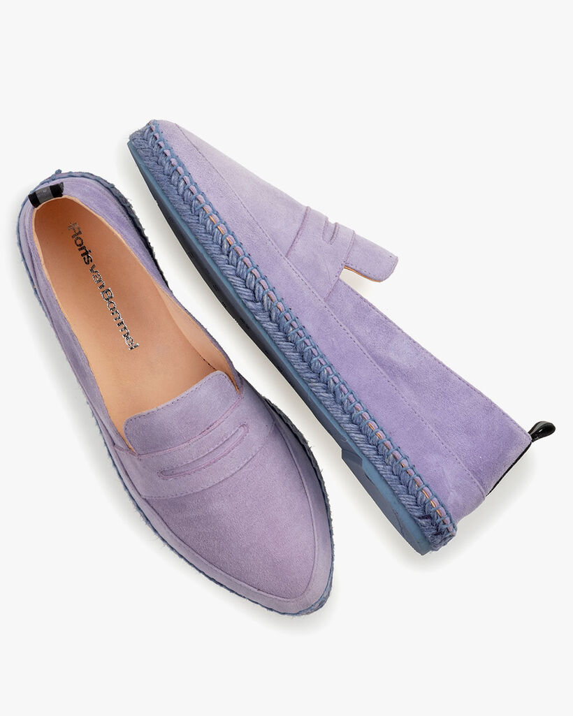 Espadrille suede leather purple