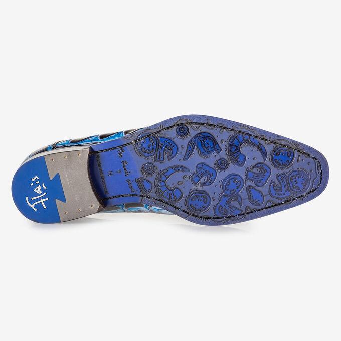 Schnürschuh Krokoprint blau