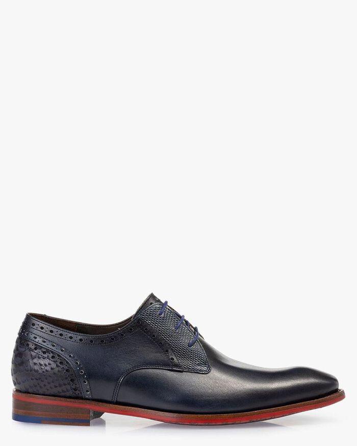 Lace shoe calf leather blue