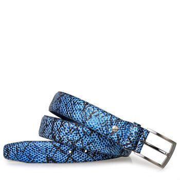 Belt blue printed leather
