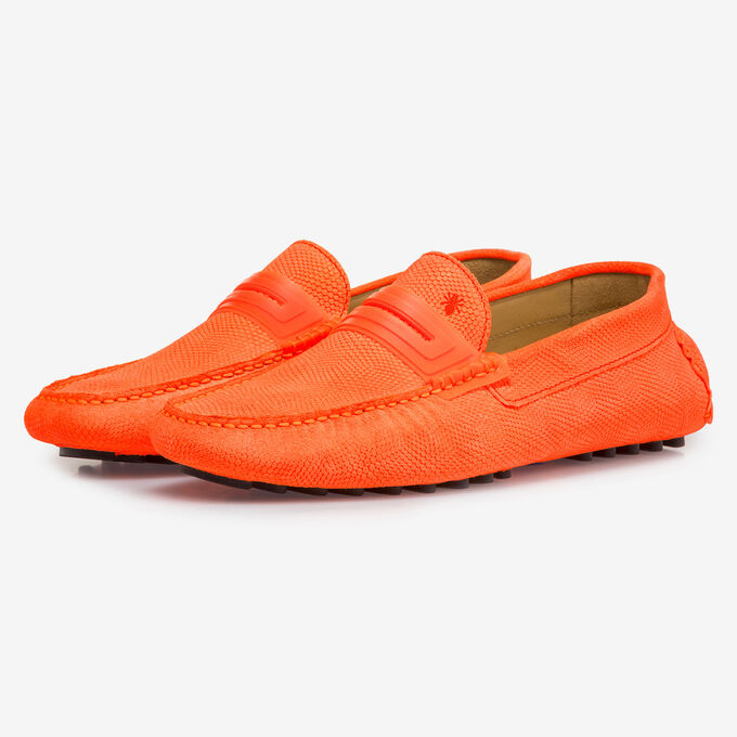 Premium fluorescent orange leather moccasin