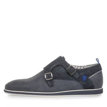 Suede leather monk strap with print