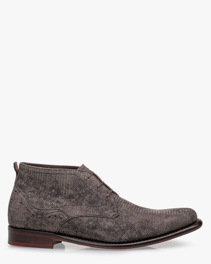 Lace boot nubuck leather dark grey