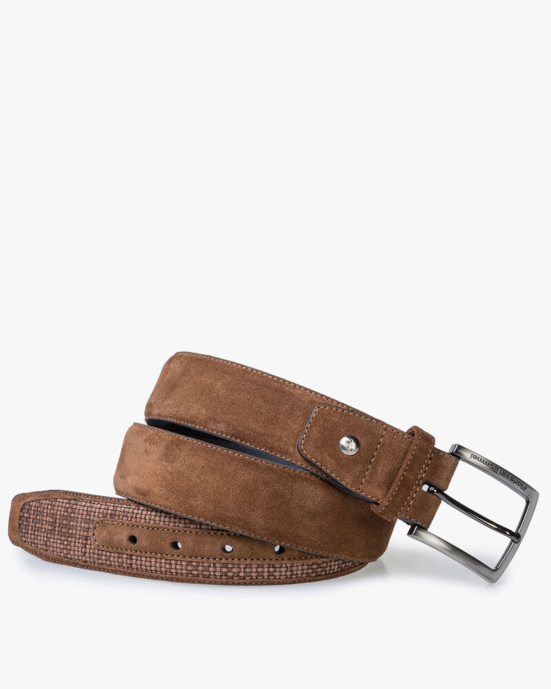 Brown braided suede leather belt