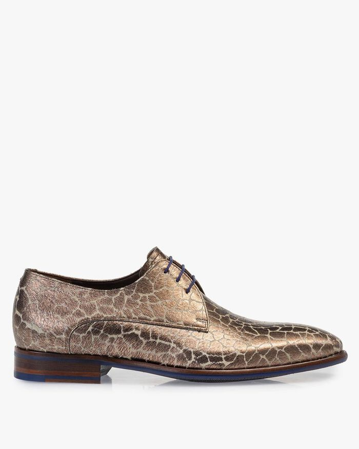 Lace shoe metallic print bronze-coloured