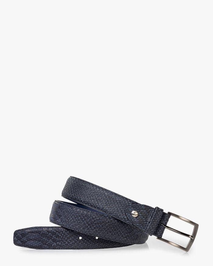 Belt nubuck leather dark blue