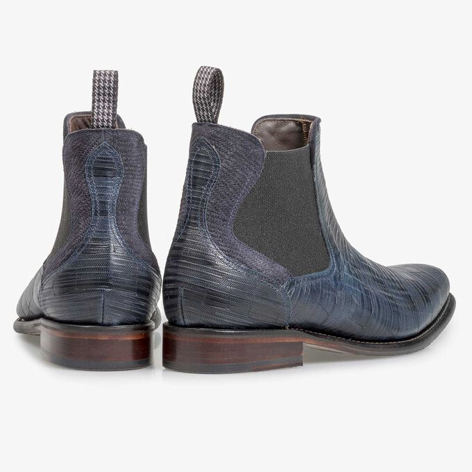 Dark blue leather Chelsea boot with print