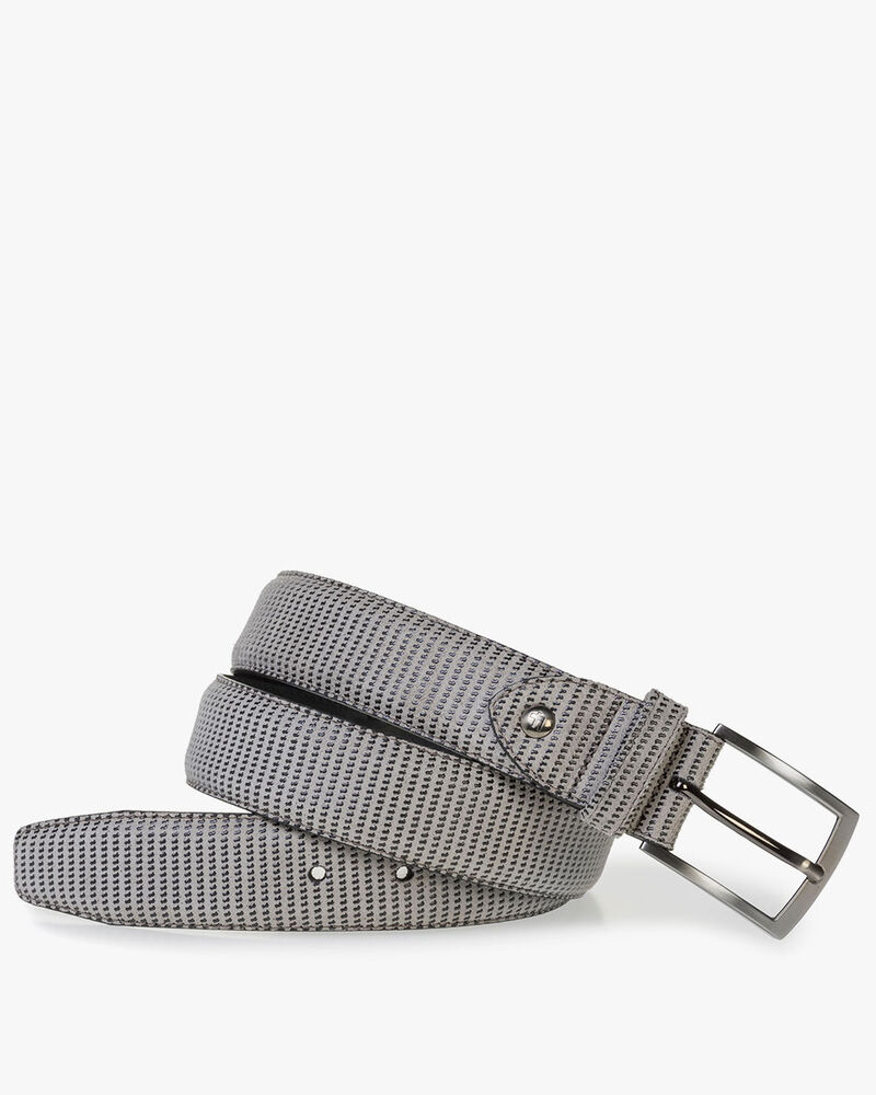 Beige suede leather belt with print