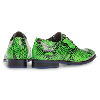 Premium fluorescent green leather lace shoe with snake print
