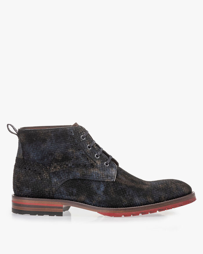 Lace boot bronze with print
