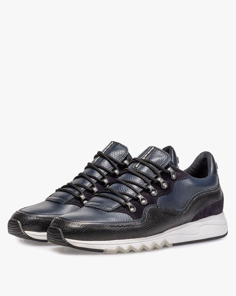 Leder-Sneaker blau