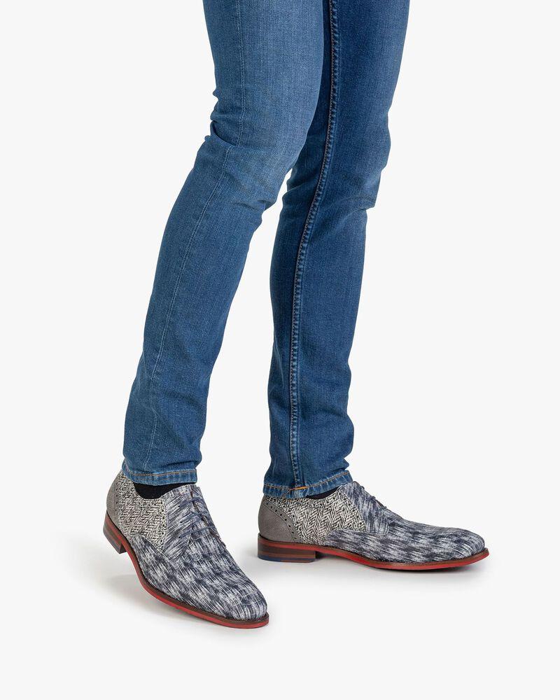 Lace shoe nubuck leather black/white