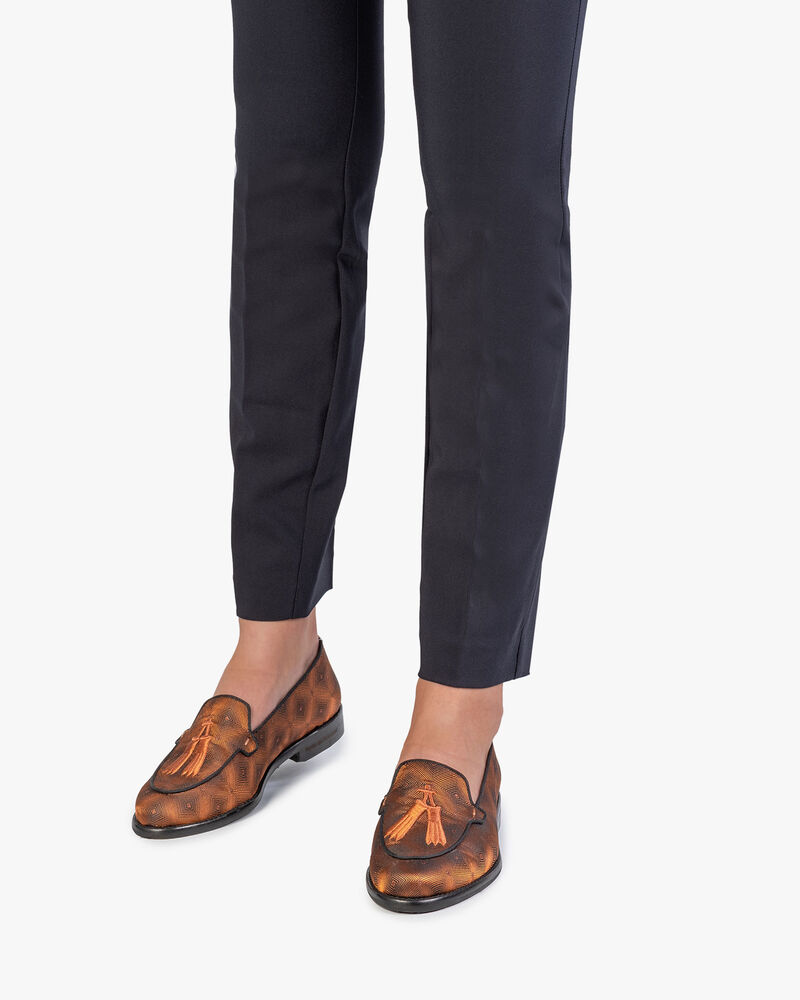 Loafer brown textile with print