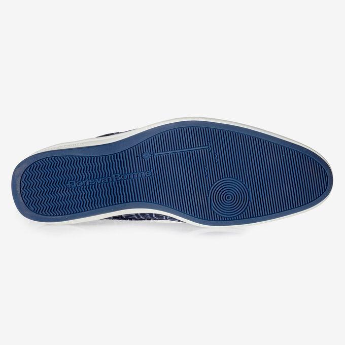 Blauer Schnürstiefel mit Krokoprint