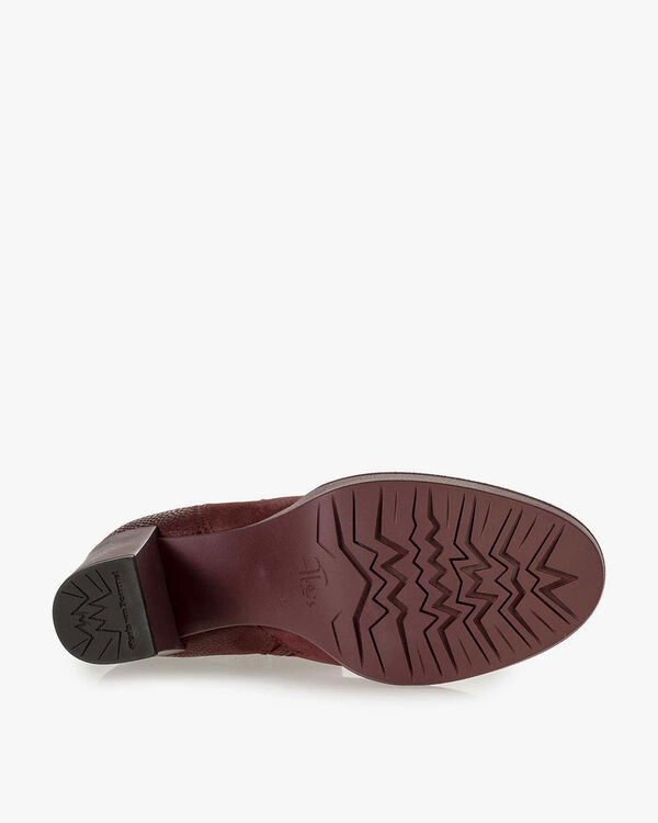 Burgundy red nubuck leather ankle boots with snake print