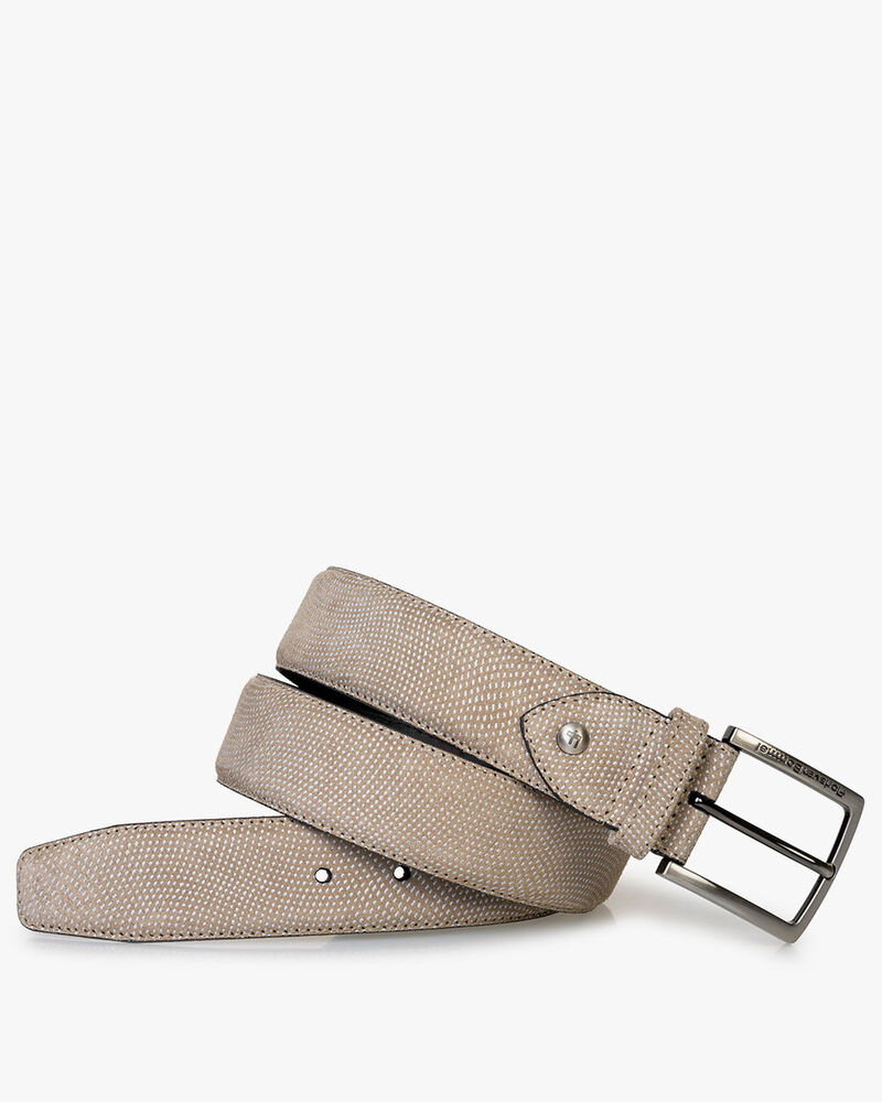 Belt printed suede leather sand-coloured