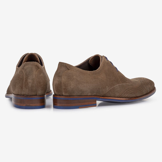 Lace shoe suede leather taupe