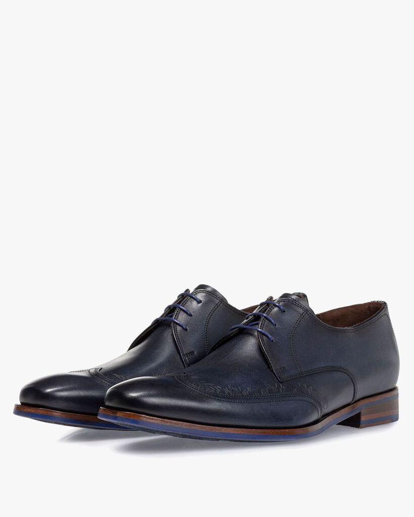 Lace shoe blue calf leather