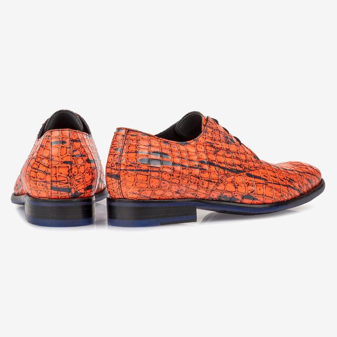 Lace shoe patent leather orange