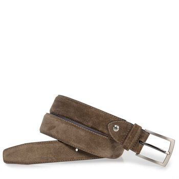 Dark taupe-coloured suede leather belt