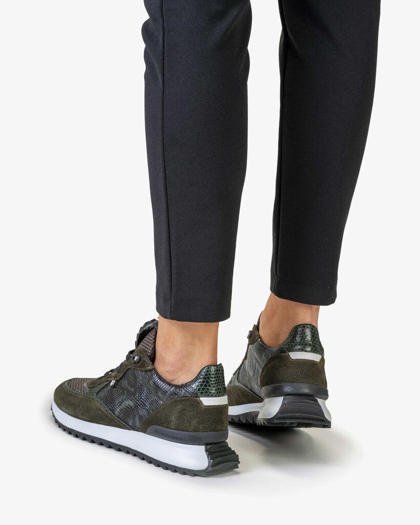 Sneaker printed suede green