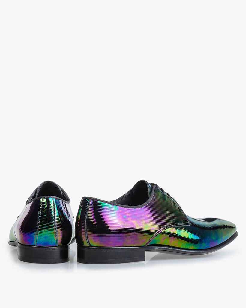 Lace shoe multi-colour patent leather