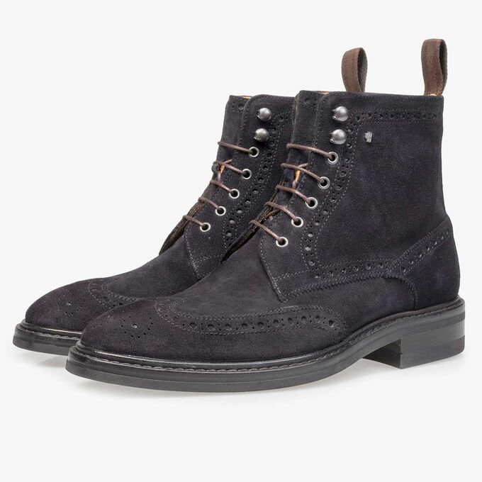 Blue suede leather brogue lace boot