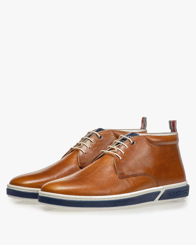 Cognac-coloured lace boot