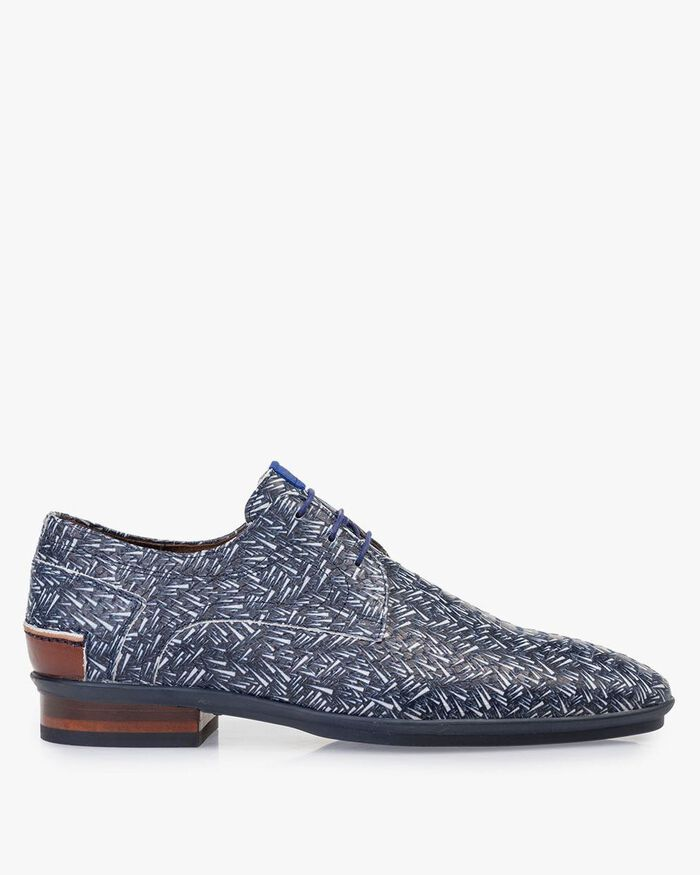 Lace shoe printed nubuck leather blue
