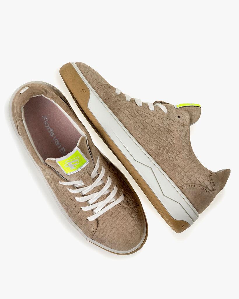 Sneaker Wildleder-Print beige