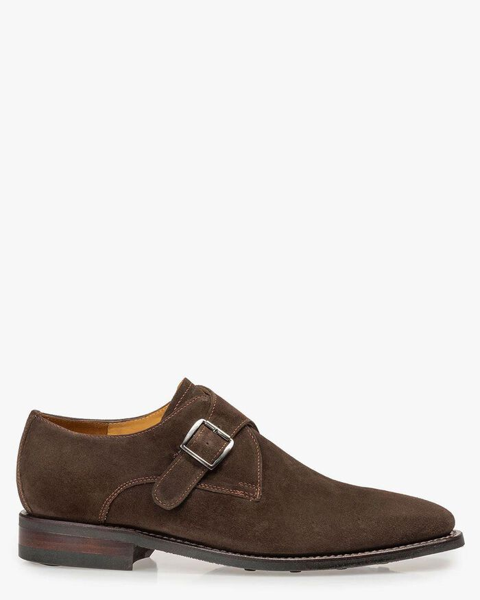 Brown suede leather monk