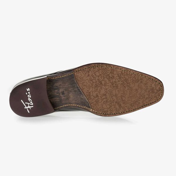 Schwarzer Leder Schnürschuh mit Krokoprint