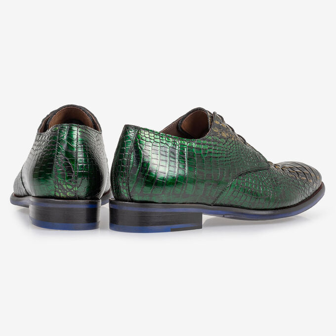 Lace shoe green croco leather