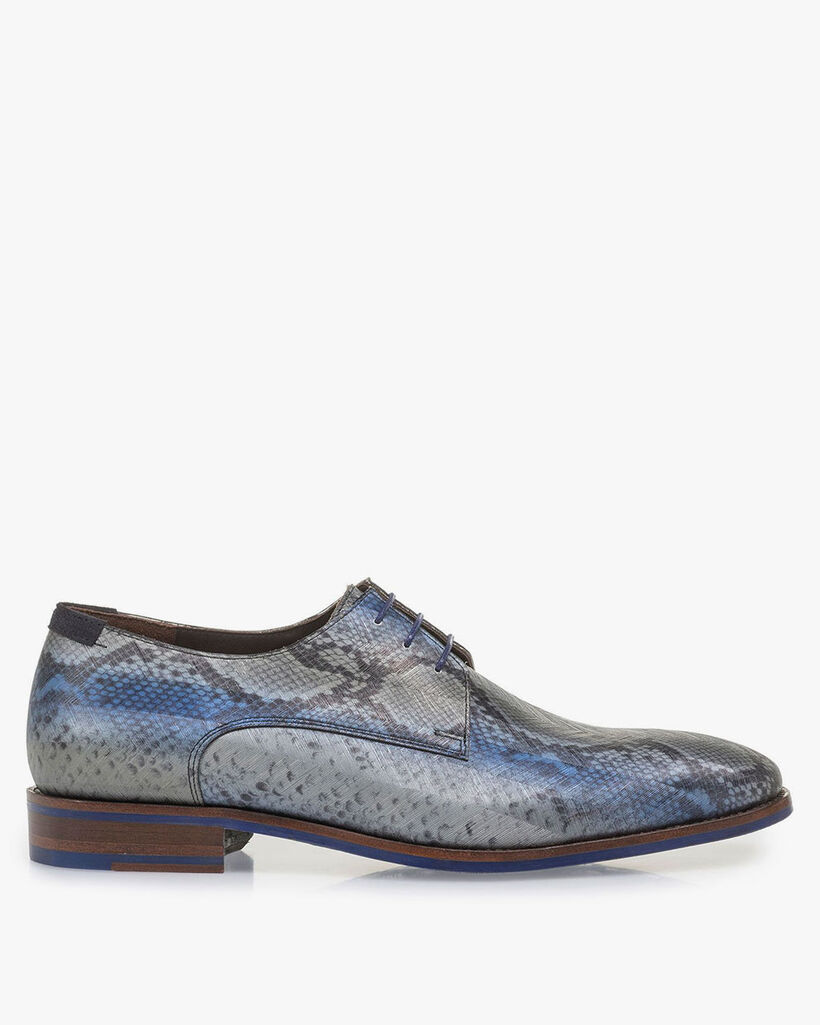 Grey patent leather lace shoe with snake print