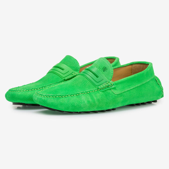 Premium fluorescent green leather moccasin