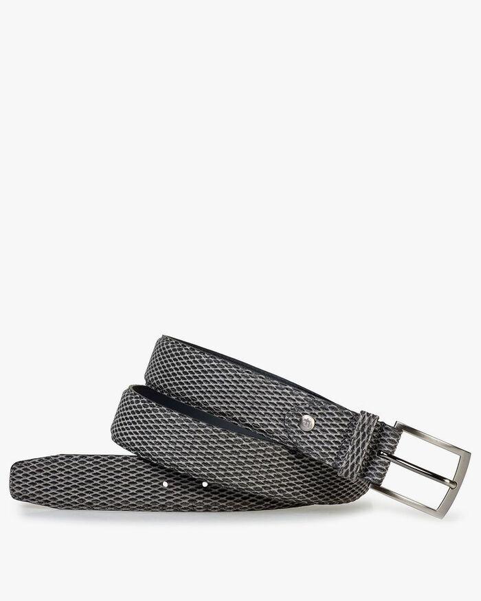Belt printed suede leather grey