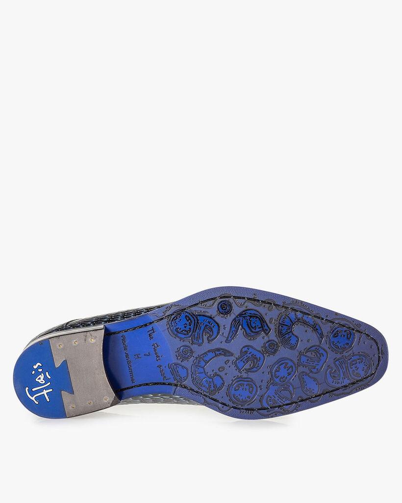 Schnürschuh metallic blau