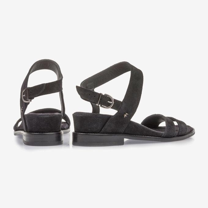 Schwarze Wildleder-Sandale