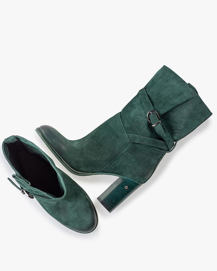 Mid-high boot suede leather petrol