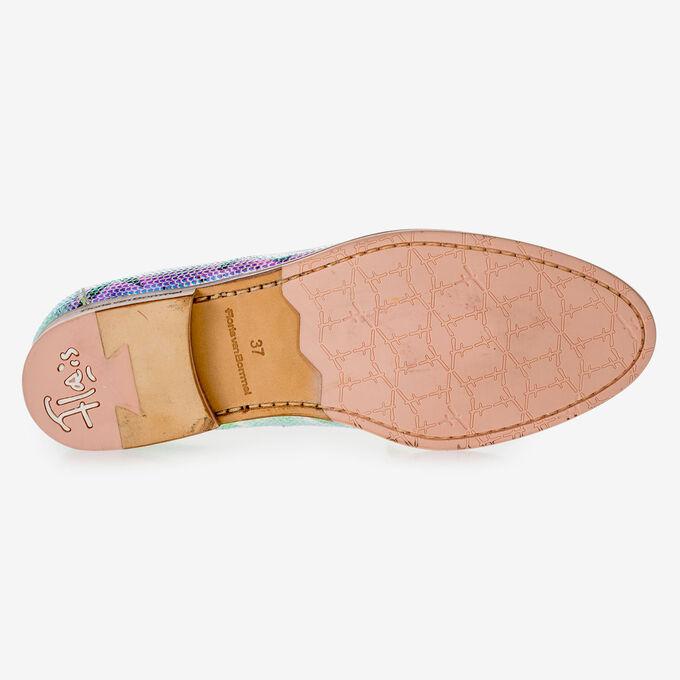Leder-Loafer mit grün-goldenem Metallic-Print