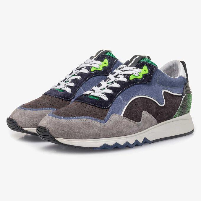 Blaugrüner Wildleder-Sneaker
