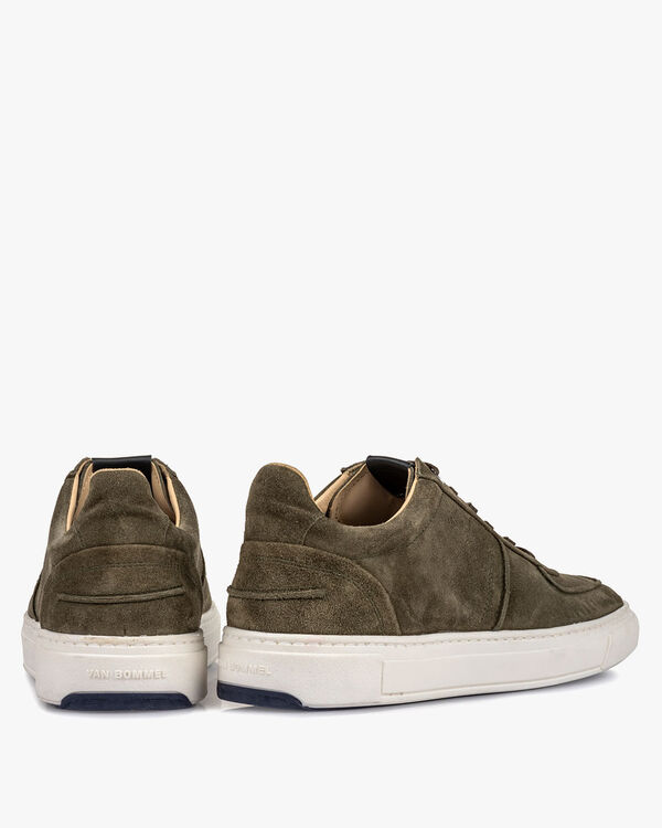 Sneaker green suede leather