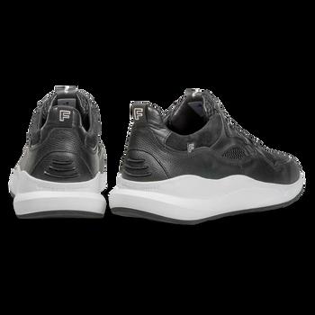 Schwarzer Kalbsleder-Sneaker mit dezentem Strukturmuster